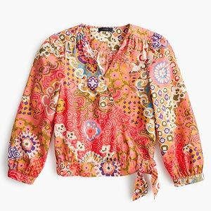 J. Crew Cotton Wrap Top Paisley 8